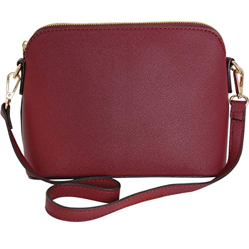 Humble Chic Saffiano Convertible Handbag - Mini Vegan Leather Structured Zip Shoulder Purse or Crossbody Bag, Burgundy, Dark Red