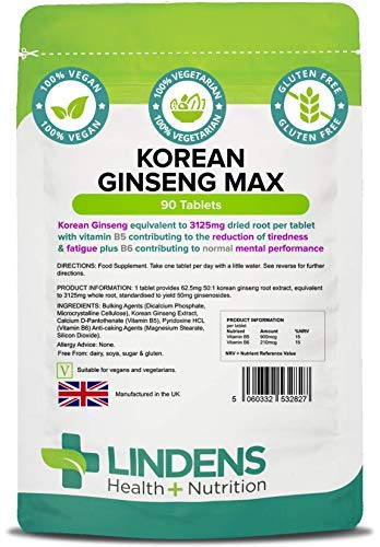 Lindens Korean Ginseng Max (Panax) 3125mg Tablets - 90 Pack - A Standardised Extract of Korean Ginseng (Also Known As Panax Ginseng) Equivalent to 3125mg Dried Root Per Tablet - UK Manufacturer, Letterbox Friendly