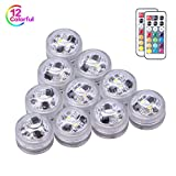 Small LED Submersible Lights with Remote and Battery Operated,Waterproof Underwater Light 10 Pacs, Festival Flameless Decor Light for Glass vase, Bowls, Aquarium and Party Wedding Decoration (RGB)