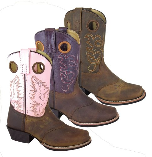 Smoky Mountain Childs Western Sedona Saddle Sq Botas De Punta Marrón Distress / True Timber Camo Marrón / Rosa