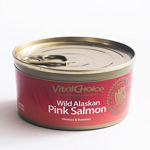 Wild Alaskan Pink Salmon (Vital Choice Wild Alaskan Pink Salmon Skinless/Boneless, 6 Ounce cans, Pack of 6)