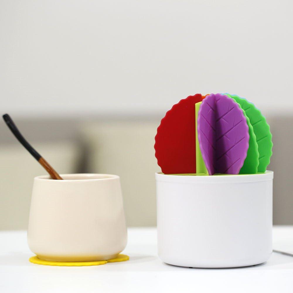 Vijtian Dessous de verre en silicone pour d/écoration de table en forme de cactus et bonsa/ï Isolation thermique multicolore