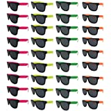 Neon Sunglasses (Pack 36) Assorted Cool Colors Wayfarer Neon Sunglasses Party Favors Party Pack Wholesale Bulk for Adults Kids