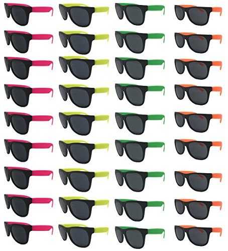 Neon Sunglasses (Pack 36) Assorted Cool Colors Wayfarer Neon Sunglasses Party Favors Party Pack Wholesale Bulk for Adults Kids from TheGag