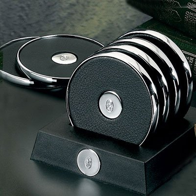 El Casco Chrome With Black Leather Inset Coasters With Stand (Set of 4) by El Casco