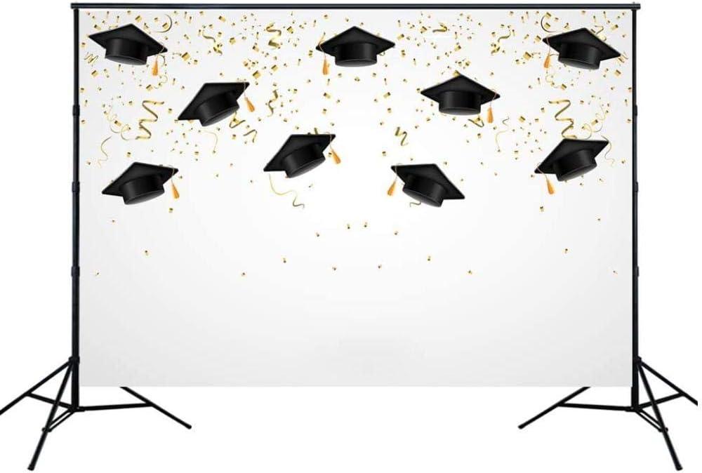 New 7x5ft Graduated Photo Background Golden Black Graduation Cap Photography Graduation Party Decor Banner Backdrop Studio photocall Props w-1416-xt-6893