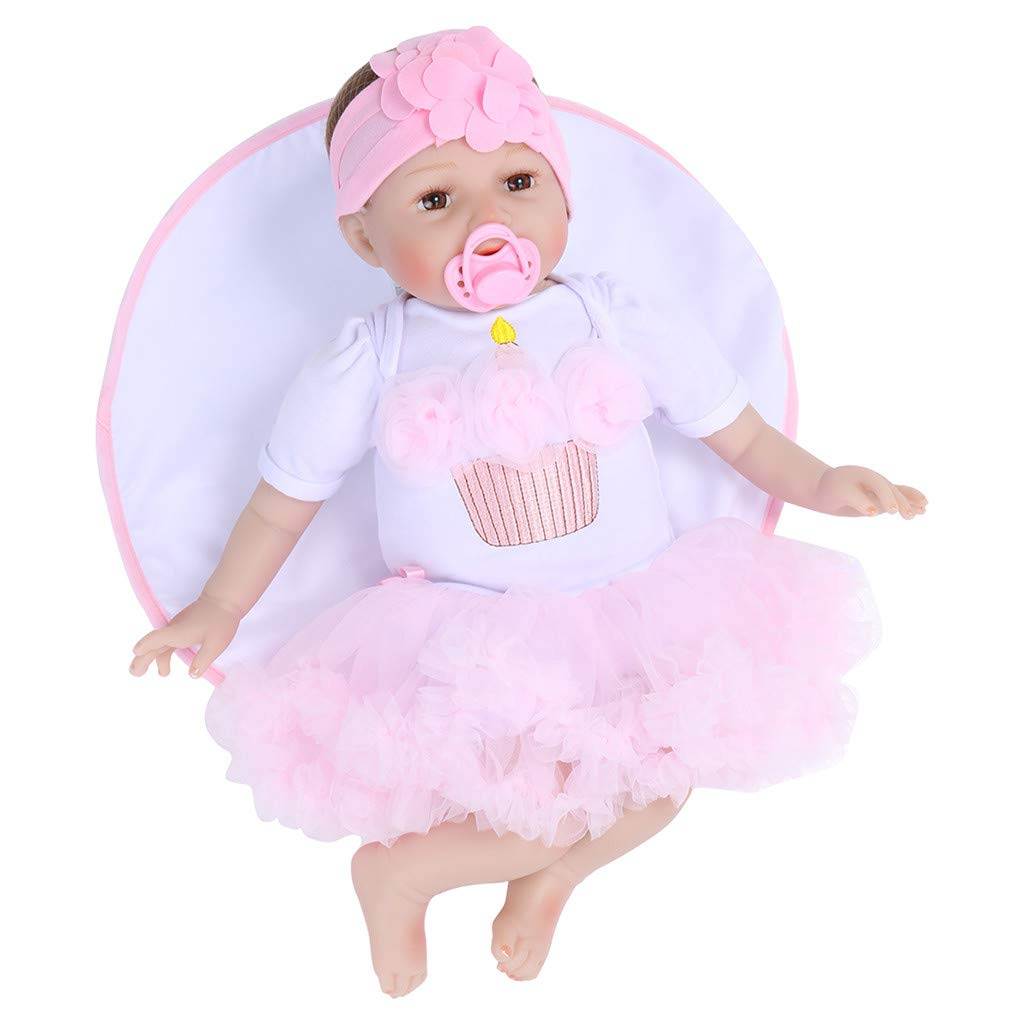 WONdere Reborn Toddler Baby Doll Artificial Girl 22/23 Inch Vinyl Silicone Lifelike Toy (B)