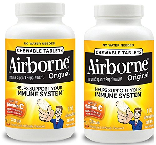 Airborne FLKsle Citrus Chewable Tablets - 1000mg of Vitamin C - Immune Support Supplement, 116 Count (2 Pack) by Airborne