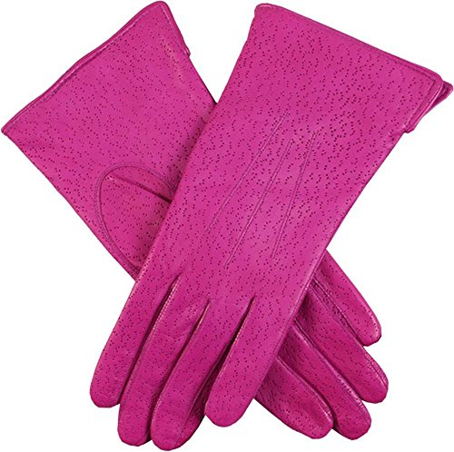 Hot Pink Jessica Classic Imipec Leather Gloves by Dents - Small
