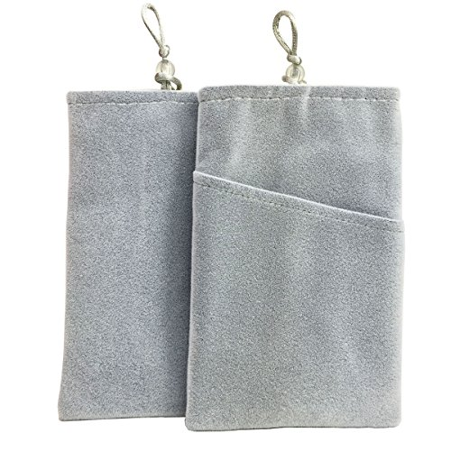 SOSAM 2Xpack Microfiber Sleeve Pouch Cover Case Pouch For iphone 5 5S /iphone 6 6plus , Samsung HTC ONE / Blackberry Z10 Mini Wallet Purse Hand Bag Cloth Coin Cell Phone Bag Mobile Pouch (Grey ) ()
