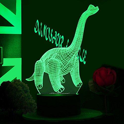 Gift Dinosaur Toy Night Light for Kids 3D Illusion Birthday Optical LED Table Dino Lamp Desk Nursery Walking Animal Party Children Room Boys Girl Bedroom Decor 7 color Diplodocus Children Light Up