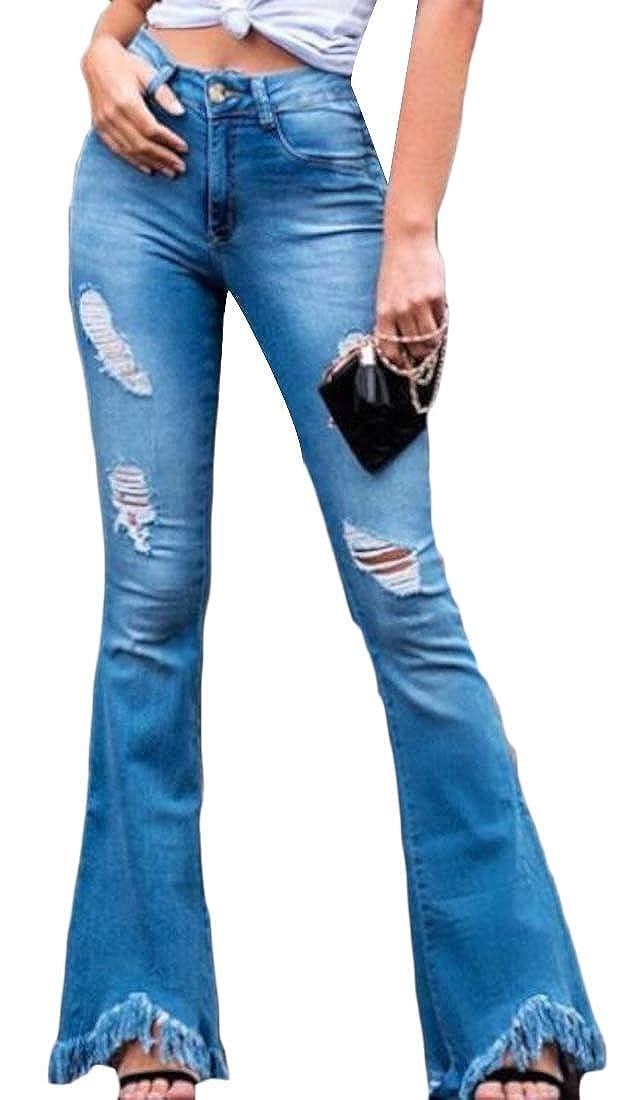 dahuo Pantalones Vaqueros elastizados con Flecos, Cintura ...