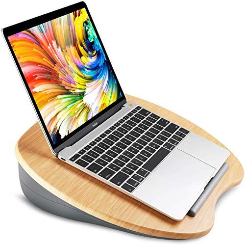 """HUANUO Soporte para Laptop con Cojin en Cama y Sofa, Estante de Libros/Almohada/Mesa de Rodilla con Orificio de Cable y Tira Antideslizante, Apto a Laptop hasta 15,6"""""""