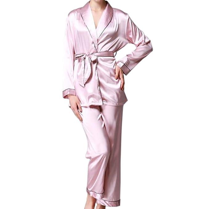 Hzjundasi Niña Mujer Lujo Seda Satín Turndown Collar Camisón Conjunto de pijamas Mangas largas Top Pants