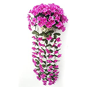 Violet Artificial Decoration Simulation Valentine's Day Wedding Wall Hanging Basket Flower Orchid Silk Fake Flower 5