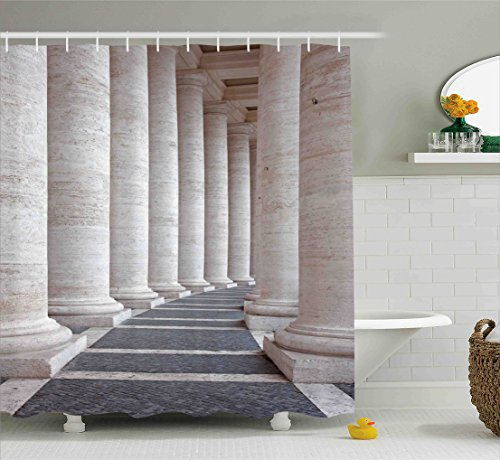 Pillar Decor Shower Curtain by Ambesonne, Ancient Theme Roman Columns Stone Pillars Old Architecture Digital Image, Fabric Bathroom Decor Set with Hooks, 70 Inches, Dust and Grey (Bath Column)