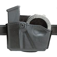 Safariland 573 Glock 17 22 Open Top Paddle Magazine Pouch with Handcuff Case (Plain Black, Left Hand)