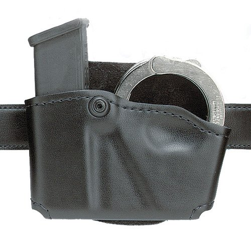 Safariland 573 Glock 17 22 Open Top Paddle Magazine Pouch with Handcuff Case (Plain Black, Left (22 Mag Pistols)