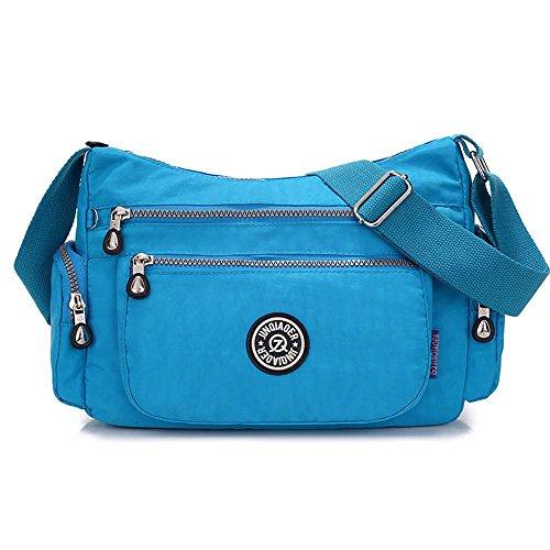 Leegoal (TM) femmes multi-poches en nylon imperméable sac à bandoulière, Rose (Rose vif) - 6025779383141 Bleu ciel
