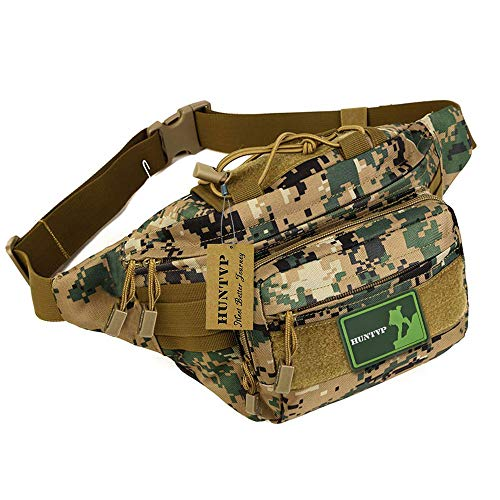 Huntvp Military Hip Fanny Pack Tactical Waist Bag Packs Waterproof Hip Belt Bag Pouch for Hiking Climbing Outdoor Bumbag Jungle Camouflage