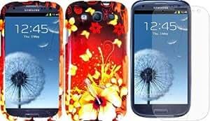 Viesrod Sensational Flower Design Hard Case Cover+LCD Screen Protector for SAMSUNG GALAXY S3 S III i747 (ATT) / i535 (...