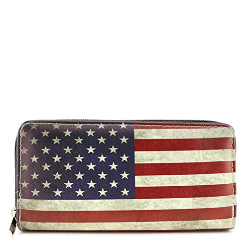Single Zip Around Vintage American Flag Print Wallet - Vintage Zip