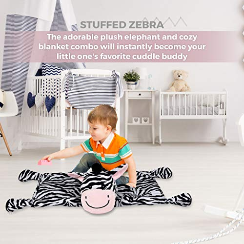 """SNUGGIES Zebra Stuffed Animal Blanket & Cuddly Pillow 2-in-1 Combo – Super Soft and Cuddly Baby Zebra Blanket 37"""" x 30"""" and Zoo Plush Toy 14"""" x 8"""" – Perfect Unisex Baby Shower Gift by Snuggies (Image #4)"""