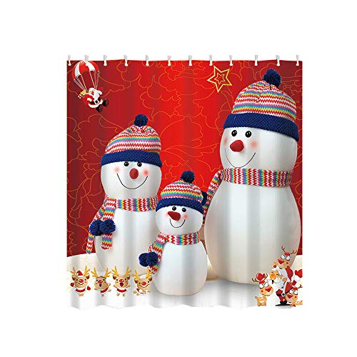 HHmei Boxes in Snow Bathroom Shower Curtain Waterproof Fabric &12 Hooks Decorations Outdoor Tree Table Lights Blue Home Set Silver Wall Ornaments Party Tissue pom poms 6DL ()