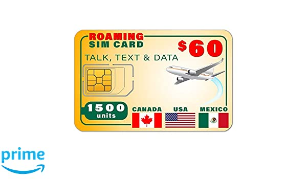 Amazon.com: USA Canada Mexico GSM SIM Card - Rollover 1500 ...