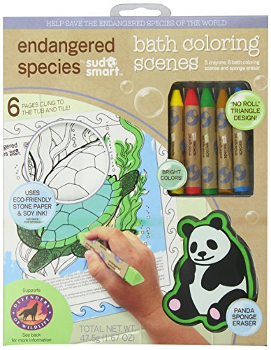 Endangered Species by Sud Smart Bath Coloring Scenes Set - Endangered Species Panda Bear