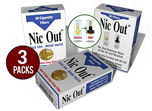 (Nic-Out Cigarette Filters 3 Packs (90 Filters) Smoking Free Tar & Nicotine Disposable Nicout Holders for Smokers DON'T QUIT SMOKING Nicfree)