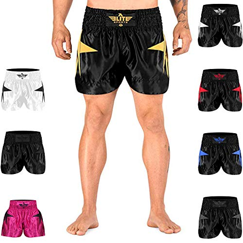 Elite Sports Muay Thai Shorts Kickboxing Muay Thai Shorts for Men & Women Gold