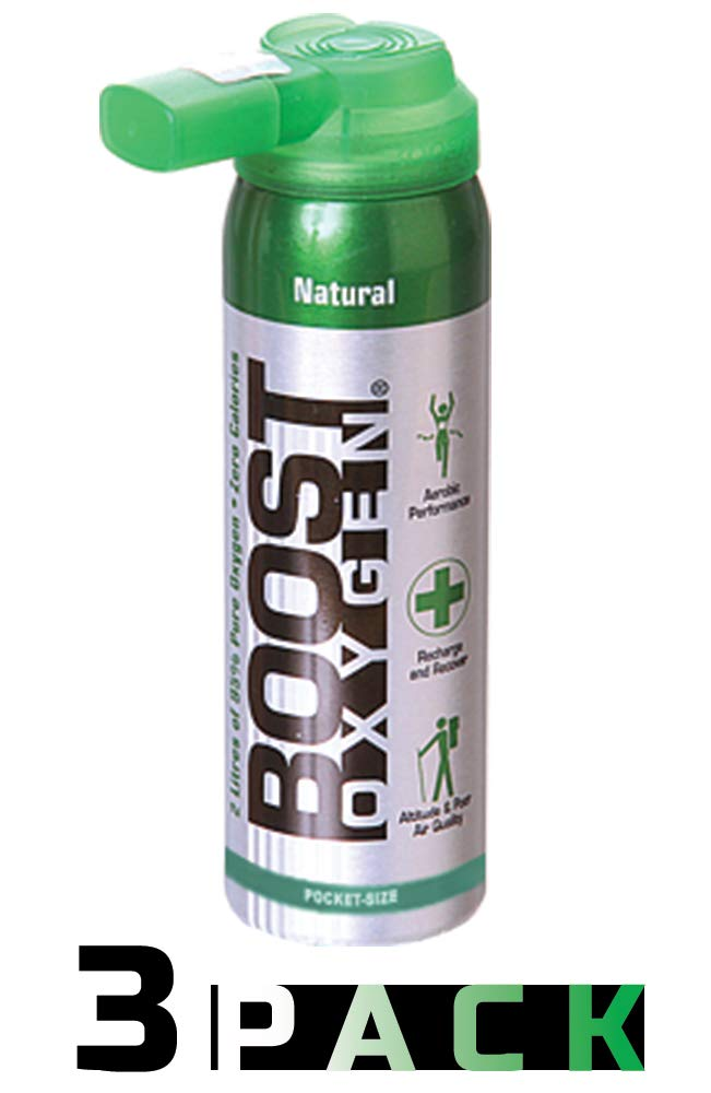 95% Pure Pocket Sized Oxygen Supplement, Portable Canister of Clean Oxygen, Increases Endurance, Recovery, Mental Acuity and Performance (2 Liter Canisters, 3 Pack, Natural) by Boost Oxygen