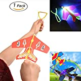 HoFire Stretch Amazing Slingshot led Arrow Rocket Helicopter Airplane,Large Size Led Light Up Glowing Arrow Rocket Helicopter Flying Flare Catapult Airplane Outdoor Toy Party Fun Gift (1 Pc)