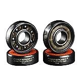 Twolions High Rev 608RS Hybrid Black Ceramic Bearings for Inline Skate or Skateboard or Scooter (Pack of 8)