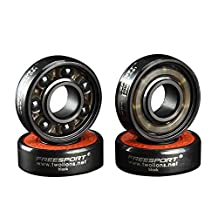 Twolions ABEC-9 High Rev 608RS Hybrid Ceramic Bearings With 7 Black Ceramic Beads For Inline Skate and SkateBoard and HandSpinner and Scooter (Pack of 8)