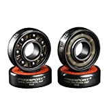 Twolions High Rev 608RS Hybrid Black Ceramic Bearings For Inline Skate or SkateBoard or Scooter (Pack of 8)