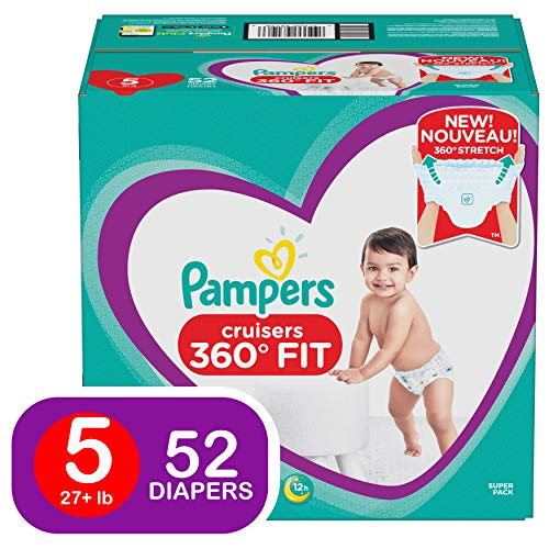Pampers Pull On Diapers Size 5 - Cruisers 360˚ Fit Disposable Baby Diapers with Stretchy Waistband, 52Count Super Pack
