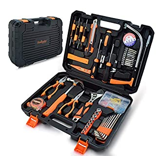 Home Repair Tool Set, 95 Piece General Household Orange Hand Tool Kit for Home Maintenance with Plastic Tool Box Storage