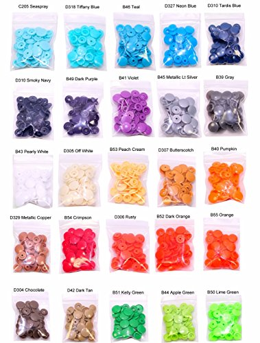250 sets KAM Plastic Resin Snaps No-Sew Button Fasterner Size 20 T5 For Diapers/ Bibs/ Crafts Baby Cloth Bib Diapers 25 Colors Replacement.