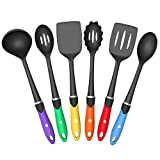 Vremi 6 pc Nonstick Cooking Utensils Set - BPA Free Nylon with Fun Colorful Silicone Handles Dishwasher Safe Kitchen Tools for Nonstick Cookware - Slotted Spatulas Stir Fry and Cooking Spoons - Black