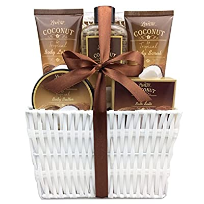 Spa Gift Basket and Bath Set with Refreshing Coconut Fragrance, by Lovestee-Bath and Body Gift Set, Includes Shower Gel Body Lotion Body Scrub Body Butter Bath Salt and Loofah Back Scrubber