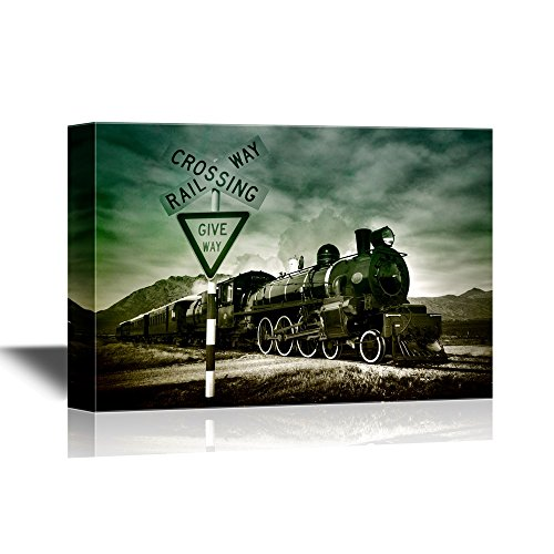 wall26 - Canvas Wall Art - Old Fashioned Steam Locomotive, Kingston New Zealand. - Gallery Wrap Modern Home Decor | Ready to Hang - 32x48 inches