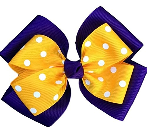 5b9d242ab447 Amazon.com   Victory Bows Polka Dot Double Quad Grosgrain Hair Bow- The  Siena Marie Purple and Gold- Made in the USA Pony Tail Band   Beauty