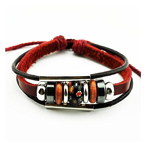 [Fariishta Jewelry Multi Strand Hand Painted Ceramic Leather Wrap Bracelet£¨black£] (Thailand National Costume For Women)