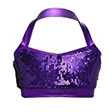 iiniim Girls Child Sequin Halter Bra Top Kids Jazz Ballet Dance Stage Performance Fancy Tops Purple 10 Years