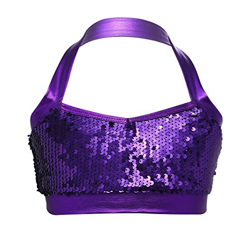 Sequined Racer Back Tank Top - dPois Big Girls' Shiny Sequined Halter Crop Top Sports Bra Ballet Dance Stage Performance Dancing Costumes Purple 12