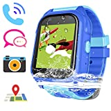 Kids Smart Watch Girls Boys IP67 Waterproof Children Smartwatch GPS/LBS Position Tracker SOS Help Camera Anti-Lost Math Game Calling Phone Watch (DXS8-Blue)