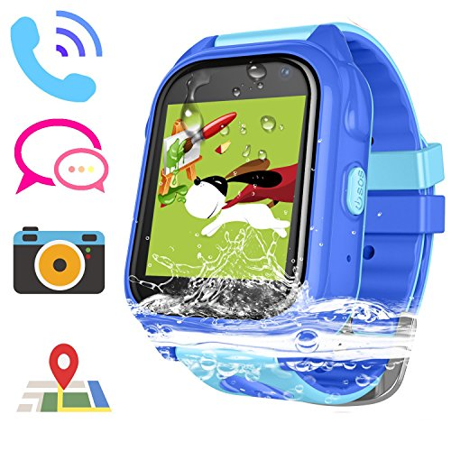 Kids Smart Watch for Girls Boys IP67 Waterproof Children Smartwatch with GPS/LBS Position Tracker SOS Help Camera Anti-Lost Math Game Calling Phone Watch (DXS8-Blue)