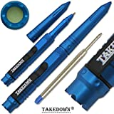 Takedown® Blue crafted Aircraft Aluminum Heavy Duty DNA Catcher Pocket Clip Window Breaker Replaceable Ink Cartridges Tactical Pen
